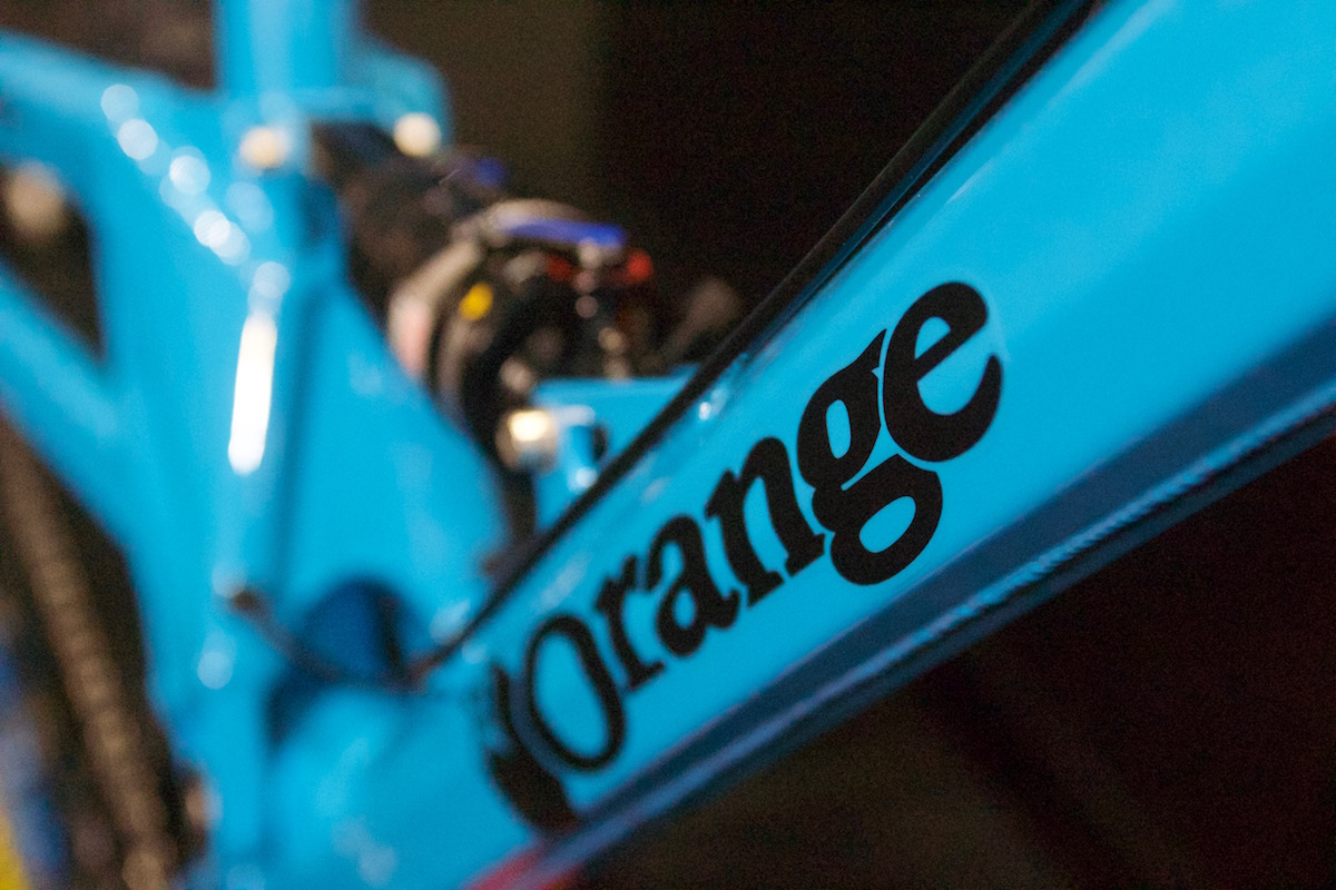 orange four london bike show blue full suspension 27.5 british made alloy single pivot rockshox