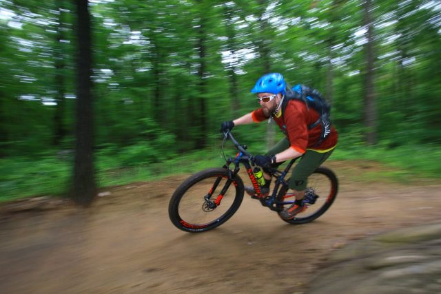 Mark taking the Epic for a spin in the mountains of New Jersey. It weighs about as much as his left leg.