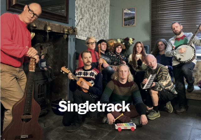 singletrack pub christmas card ross andi chipps mark tom andy amanda hannah sarah james band music